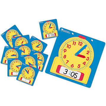 Write-On/Wipe-Off Clocks Classroom Set