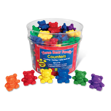 Three Bear Family Counters Rainbow Set, Set of 96, 6 colours