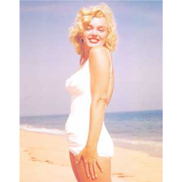 Marilyn Monroe Standing on Beach Colour Poster Card