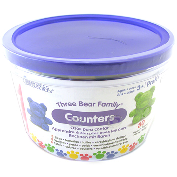 Three Bear Family Counters Basic Set, Set of 80, 4 colours
