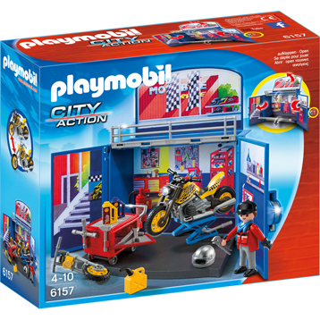 Playmobil City Action My Secret Motorcycle Workshop Play Box