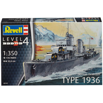 German Destroyer Type 1936 (Level 4) (Scale 1:350)