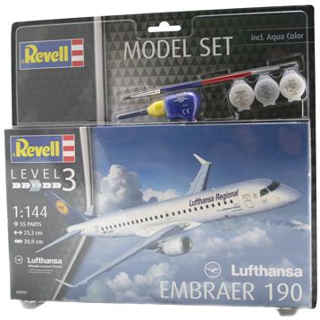 Lufthansa Embraer 190 Model Set (Level 3) (Scale 1:144)