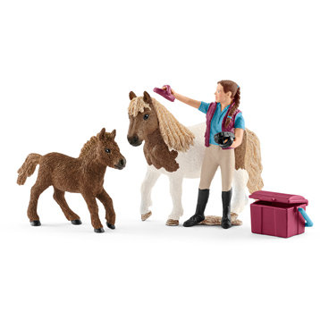 Stablehand With Shetland Ponies