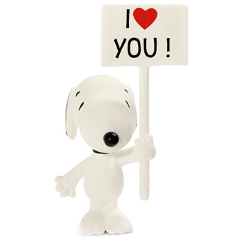 Snoopy with I Love You Sign
