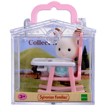 Baby Carry Case Chocolate Rabbit on Baby Chair