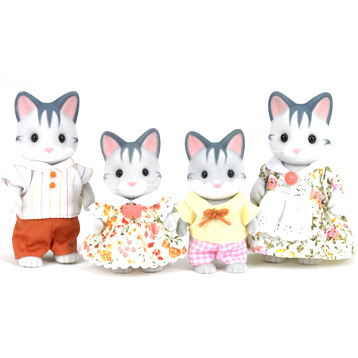 Grey Cat Family Figures