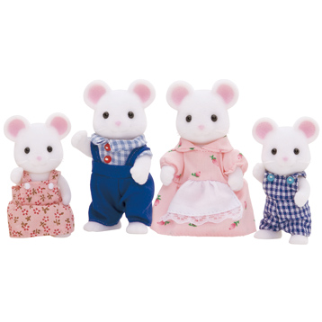White Mouse Family Figures