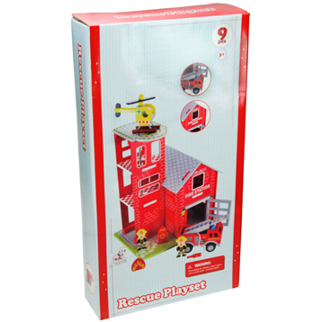 Toyland Wooden Fire Station Rescue Playset