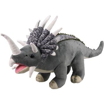 XJ Dinosaur Plush Triceratops in Grey & Beige
