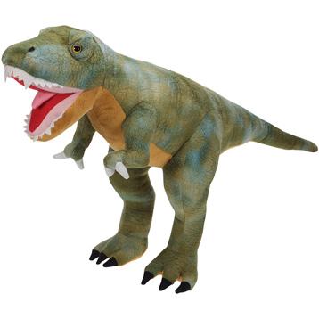 XJ Dinosaur Plush Tyrannosaurus Rex in Green & Brown